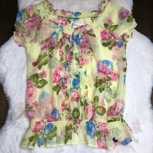 Abercrombie yellow floral sheer small top